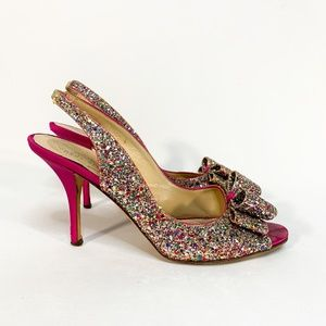KATE SPADE Glitter Sparkle Bow Toe Slingback Pumps